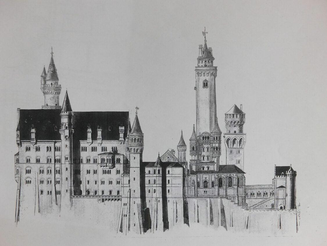 Schloss Neuschwanstein Aufriss Süd mit dem hohem Bergfried
