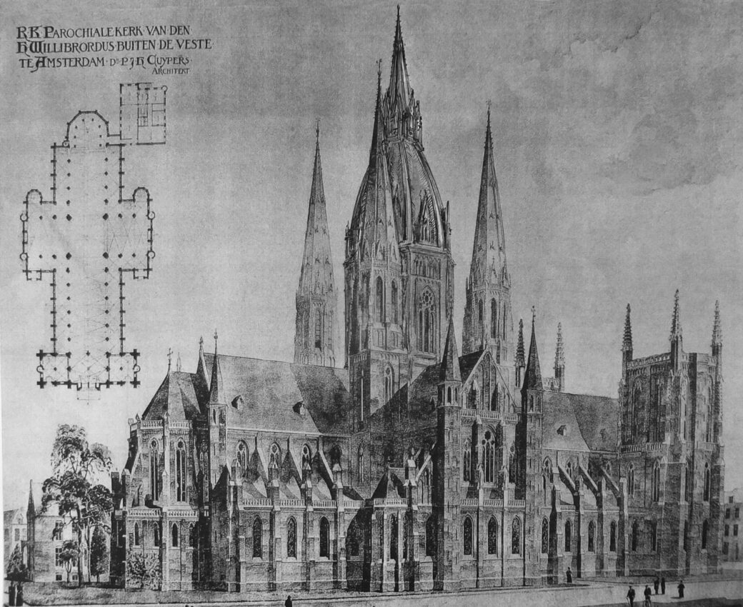 Perspektivische Darstellung des überarbeiteten Entwurfs zur Kirche St. Willibrordus am großen Amstelkanal. Das Projekt zeigt die Variante mit der zentralen hohen Turmgruppe und der helmlosen Westfassade