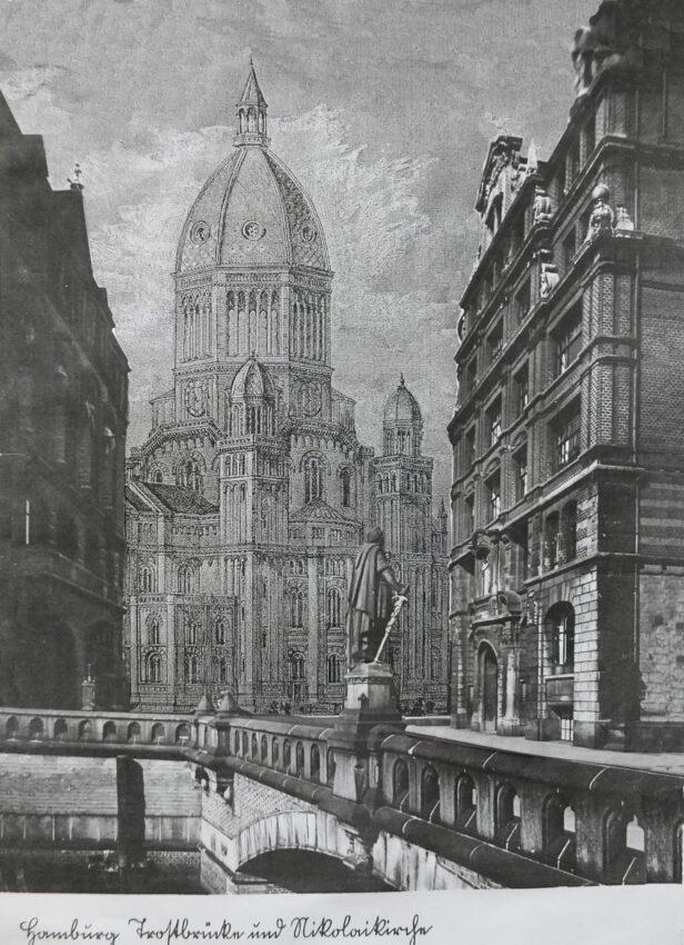 Hamburg Entwurf St. Nicolai von G. Semper. St Nicolai am Nikolaifleet von der Trostbrücke aus gesehen.