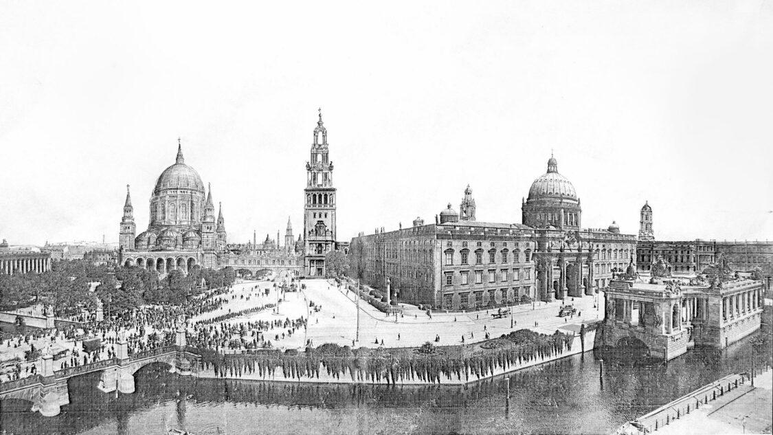 Berlin Kaiserforum perspektivisch von Westen dargestellt. Es dominieren die Motive der Kuppeln von Dom und Schloss, deren optische Verbindung auch durch die Höhendominante des  Kaiserturms zu Stande kommt.