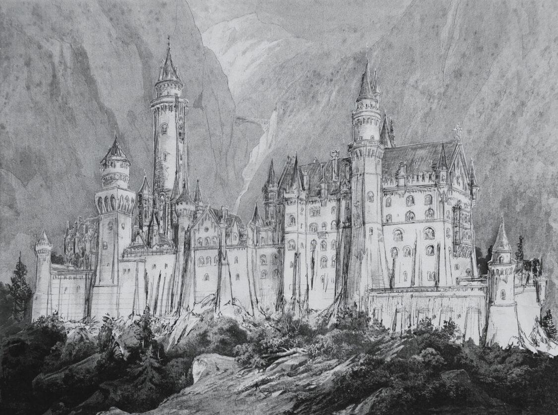 Schloss Neuschwanstein von Nordwest Perspektive