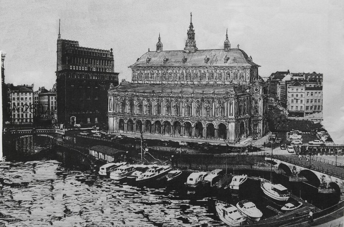 Hamburg Entwurf zum Neubau der Commerzbank als Erinnerungsbau des Commerziums. Gesehen vom Nicolaifleet. Links das Gebäude der patriotischen Gesellschaft.