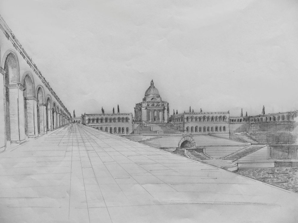 München. Hofgarten. Die auf Pläne von Architekten Braunfels zurück gehenden Ideen des zentralen Kuppelbaus und der seitlichen Galerieflügel wird hier überhöht durch eine pathetisch übertriebenen Plan einer monumentalen Treppenanlage, die zu einem tiefer gelegenem Zierbecken führt. Gedacht nur als Idealplan.