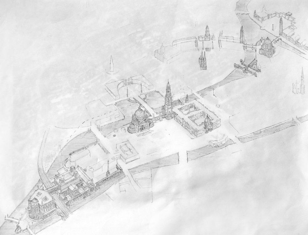 Berlin Mitte mit der Stadtinsel. Wichtige Veränderungen sind betont hervor gehoben. Von unten Links zu sehen ist die Museumsinsel mit veränderten Kopfbau, das Forum von Dom und Stadtschloss, sowie das Forum der Arbeit an der Spree nach dem Groß-Berlin Wettbewerb von Bruno Schmitz an der nördlichen Inselspitze.