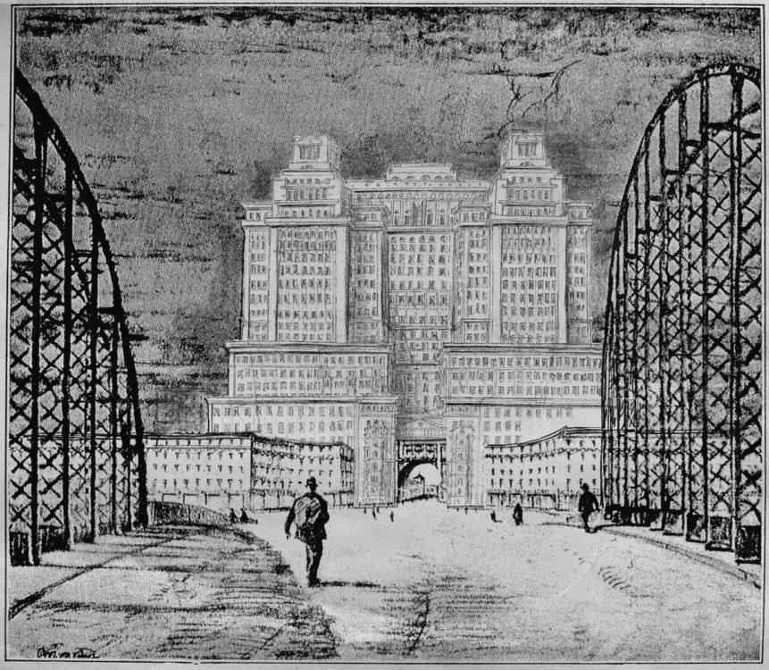 München. Hochhausprojekt in der Achse der Hackerbrücke unweit des alten mächtigen Verkehrsministeriums. Der ca. 85m hohe Bau korrespondiert mit deren Kuppel ebenso wie mit der filigranen Ingenieursarchitektur der Brücke.