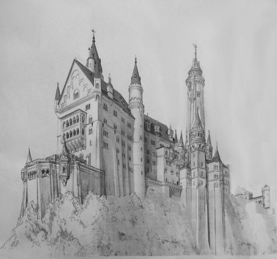 Schloss Neuschwanstein Ansicht von Südwest