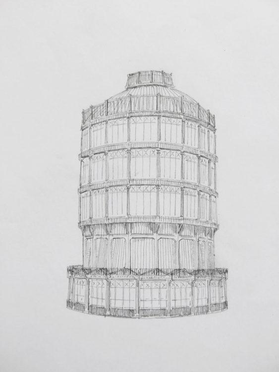 München. Gashochbehälter an der Dachauer Straße am Oberwiesenfeld. Der alte schmucklose Turm erhält eine attraktivere Ummantelung und ein Kuppeldach. Somit fügt sich der Bau als Dominante der westlichen Neuhauser Vorstadt besser ins Stadtbild ein.