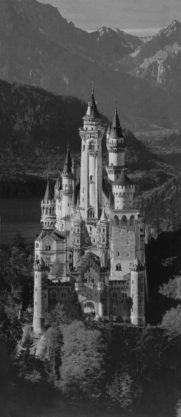 Schloss Neuschwanstein Ansicht aus der Luft von Osten