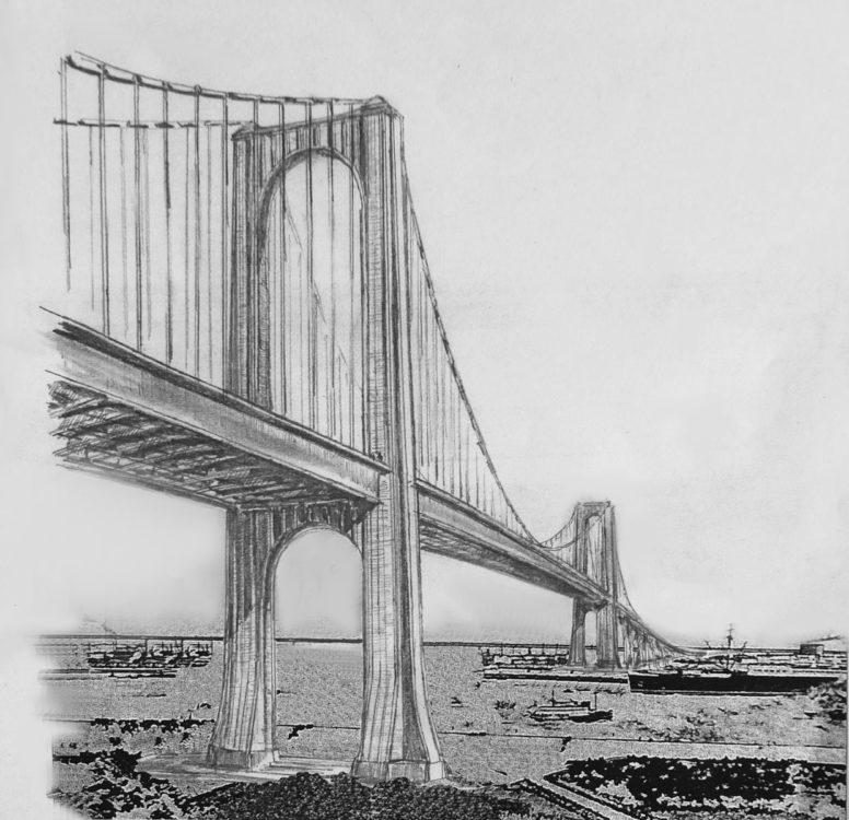 Hamburg. Skizze der Elbhochbrücke nach dem Entwurf Fritz Leonhardts in Stahlbauweise als Alternative zum Steinverkleideten Entwurfes, wie er von Hitler bevorzugt wurde.