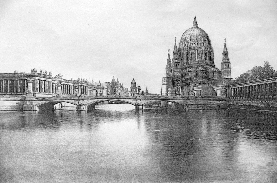 Dom nach Vorstellung Stülers gesehen mit der gestreckten Friedrichsbrücke über der erweiterten Spree. Links die versetzte Börse.