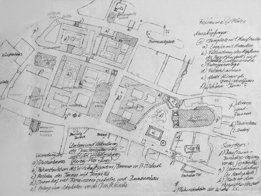 München. Stadtgrundriss der Umgebung der neuen Domfreiheit mit der Stadthalle. Im oberen Bereich die Herzogliche Maxburg.