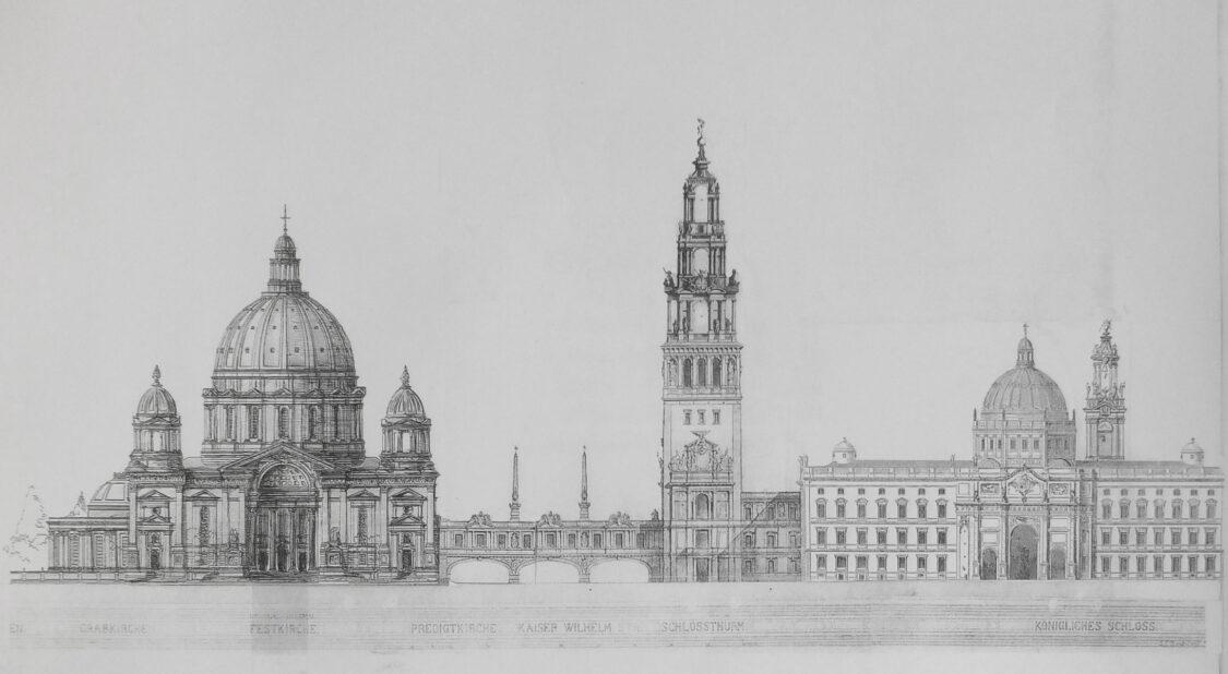 Berlin Kaiserforum von Westen nach Julius Raschdorff überarbeitet. Als Alternative ist auch anstelle des Doms von Kolscher der modifizierte Entwurf von Raschdorff vorgesehen.