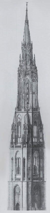 Turmentwurf für die Neue Kirche in gotischen Formen um 1645. Formal deutlich angelehnt an den bestehenden Kirchenbau