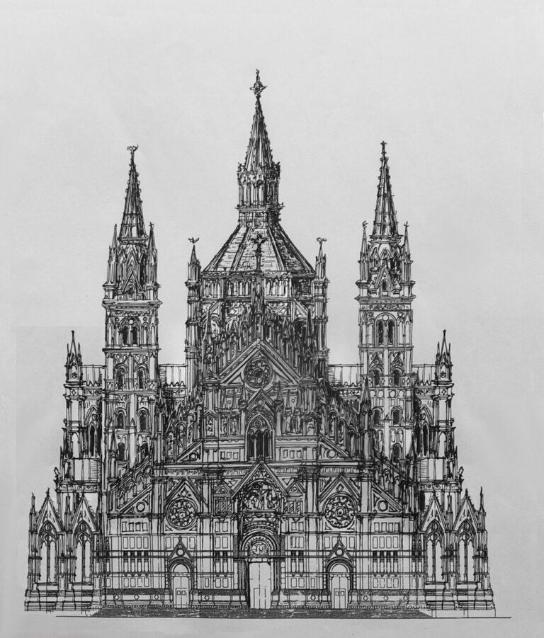Bologna, St. Petronio. Dieser Plan zeigt den Entwurf der kleineren Vierungskuppel über dem Mittelschiff und den vier die Kuppel umgebenden Türmen in den Ecken, an denen das Querhaus das Langhaus schneidet. Die Kuppel hat in art romanischer Bauten noch ein klassisches Faltdach.