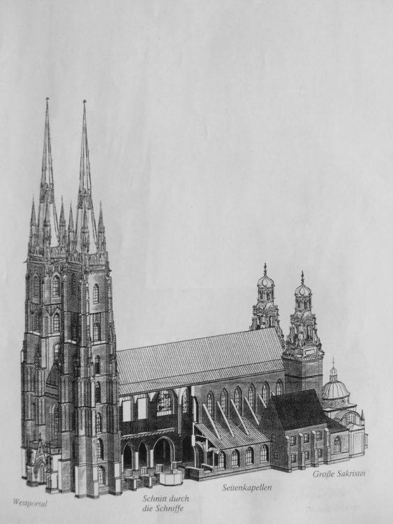 Breslau Dom. Der mit vier Türmen angelegte Dom auf der Dominsel erhält je zwei hohe gotische Spitzen an der Westfassade, sowie zwei barocke Chortürme.