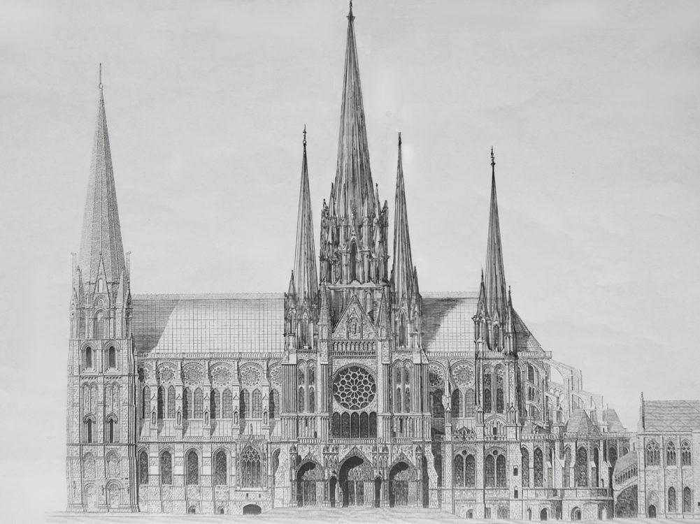 Kathedrale von Chartres mit neun ausgebauten Türmen in frühgotischen Formen