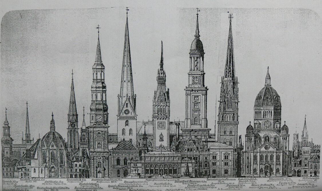 Hamburg historische Türme der Stadt im Vergleich mit Sempers Nicolaikirche und neuem Turm der Jacobikirche