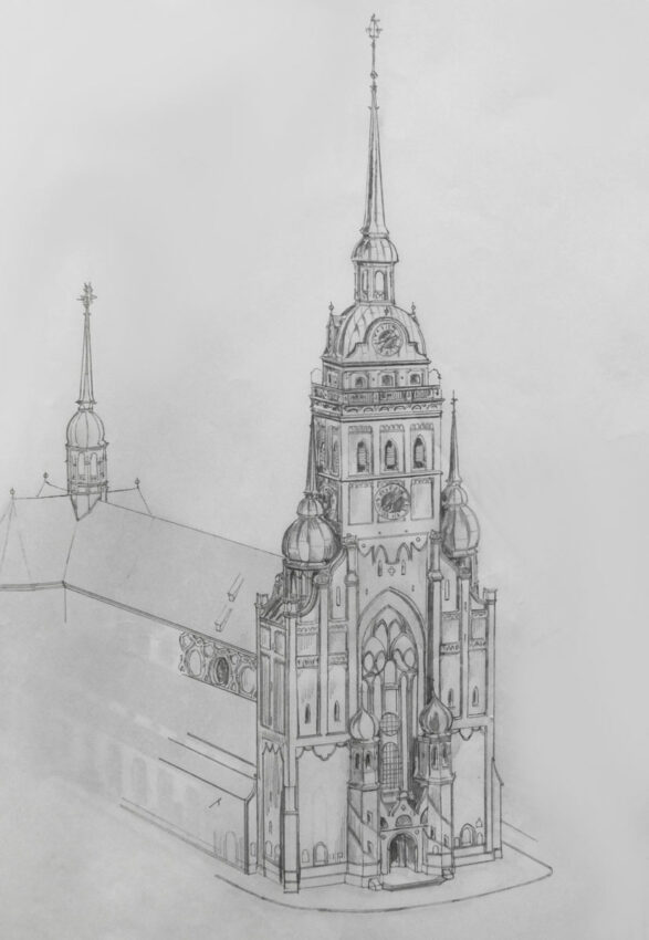 München Peterskirche mit abgeänderter Fassade. Die ursprünglich romanischen Seitentürme erhalten Volutengiebel und kleine Turmhauben