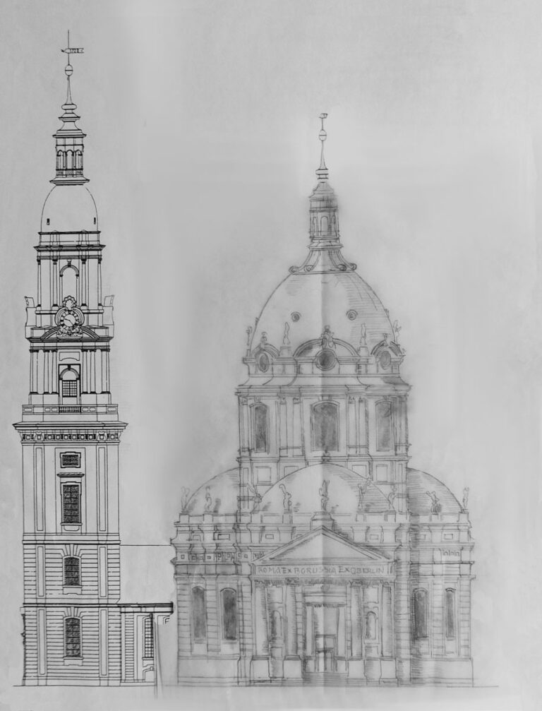 Potsdam Heilig-Geist Kirche. Planung einer Kuppelkirche an Stelle des Langhausbaus. Der barocke Turm bleibt erhalten.