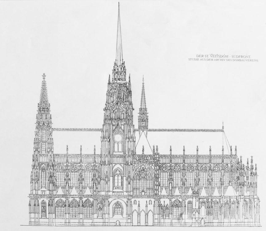Prag. Dom St. Veit. Planung mit gotischem Turmabschluss an Stelle des Renaissancehelms. Ansicht von Norden. Idee nach Ludwig Kohl und Joseph Mocker.