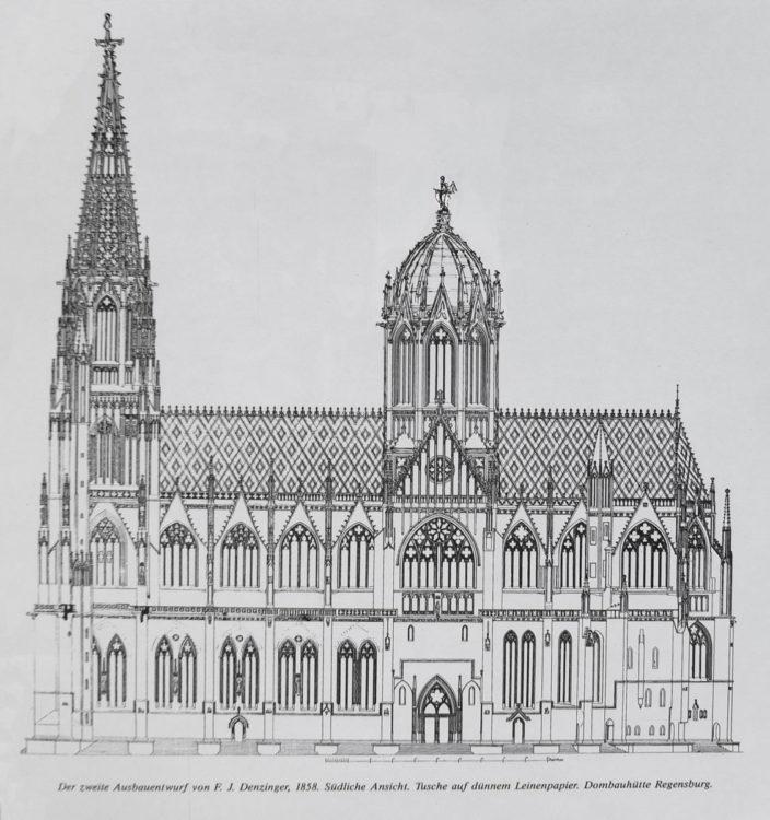 Regensburg. Dom St. Peter mit dem Vierungsturm wie er nach alten Vorhaben im 19. Jahrhundert erneut projektiert wurde. Hier erscheint der Bau mit einem steinernen Kuppeldach. Ansicht der Südseite.
