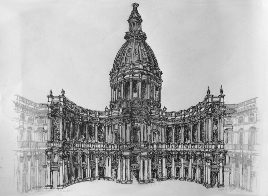 Berlin innerer westlicher Schlosshof mit dem Eosanderportal in Art Berninis Entwurf für den Louvre in Paris. Die eigentlich doppelgeschossige Kuppel wurde auf ein Säulenobergeschoss herabgestuft. Der Entwurf stammt von Wätzold Plaum
