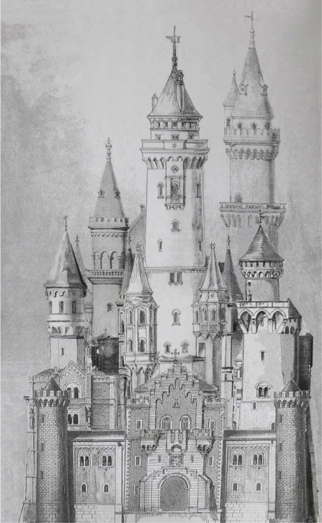 Schloss Neuschwanstein Aufriss Ost mit dem niedrigen Bergfried