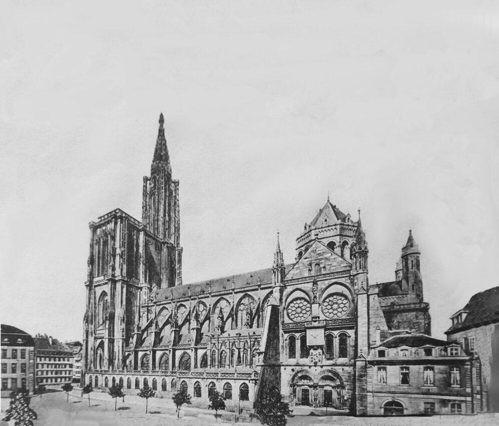 Straßburger Münster. Blick auf den bestehenden Bau von Osten. Ausgangslage zur Vollendung.