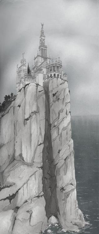 Ansicht der Villa Jovis nach Weichhardt oberhalb der hohen Steilküste