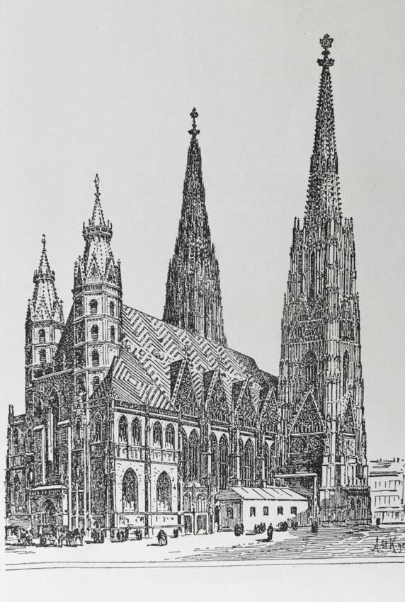 Stephansdom mit zwei leicht unterschiedlichen Türmen, wie geplant. Der zweite Turm ist nicht identisch, sondern hat im Detail andere Formen. Der Dom soll allerdings eintürmig verbleiben.