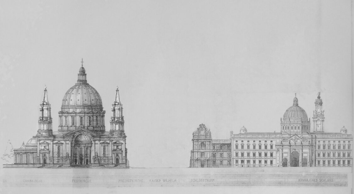 Berlin Kaiserforum von Westen nach Julius Raschdorff überarbeitet. Als Alternative ist auch anstelle des Doms von Kolscher der modifizierte Entwurf von Raschdorff mit den Türmen vorgesehen. Auf den hohen Schlossturm wurde verzichtet.