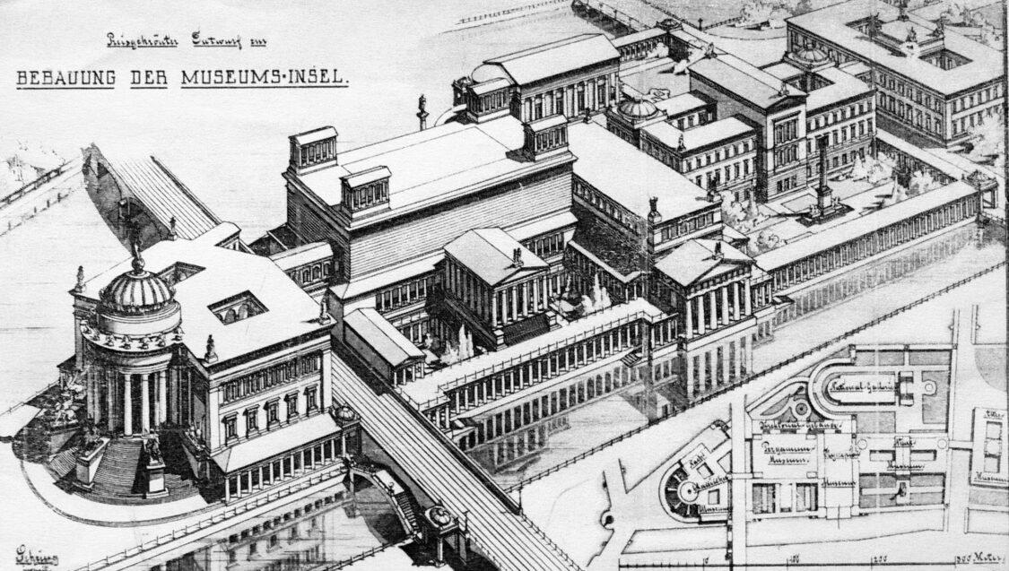 Berlin Museumsinsel mit allen Bauten nach dem Gesamtentwurf Bernhard Sehrings zum Schinkelwettbewerb 1881. Berücksichtigt wurde bereits die Stadtbahntrasse, die geschickt überbaut und somit kaschiert wurde.