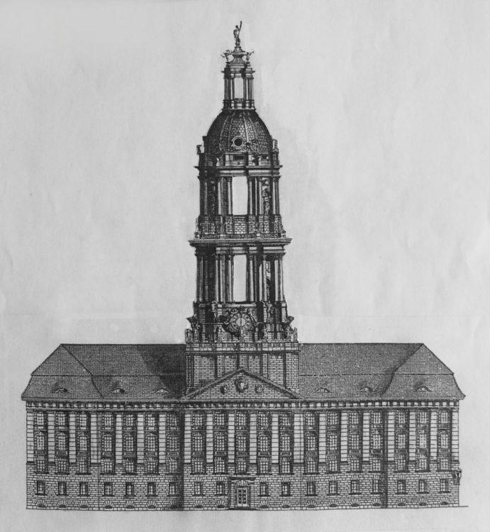 Berlin. Das Neue Stadthaus als zweites Rathaus von Berlin Mitte mit modifiziertem Turmaufbau, der in Anlehnung an den Schlosstturm Eosander von Geothes erdacht ist und auch als möglicher Ausgleich eines nicht mehr realisierten Kaiserturmes gesehen werden kann.
