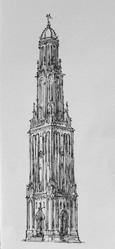 Turmentwurf für die Neue Kirche in gotischen Formen um 1645 nach Ideen Jacob van Campens, dem Erbauer des Rathauses