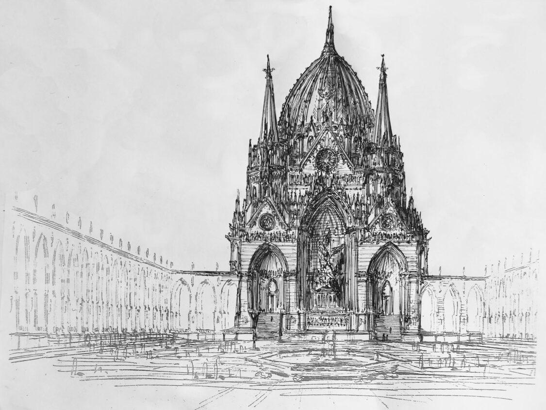 Berliner Nationaldom nach einem der vielen Plänen Karl Friedrich Schinkels. Gedacht war er als Nationaldom in neugotischen Formen. Entwurf für den Leipziger Platz mit gotischen Arkadengang.