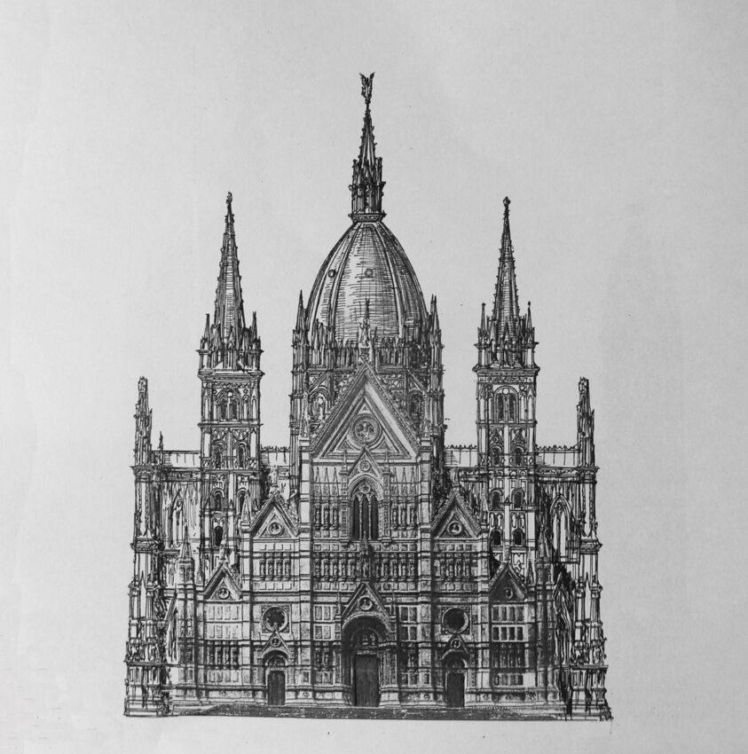 Bologna, St. Petronio. Dieser zweite variierte Plan zeigt einen weiteren Entwurf der kleineren Vierungskuppel über dem Mittelschiff, allerdings mit Kuppeldach und anderer Fassade nach Francesco Morandi.