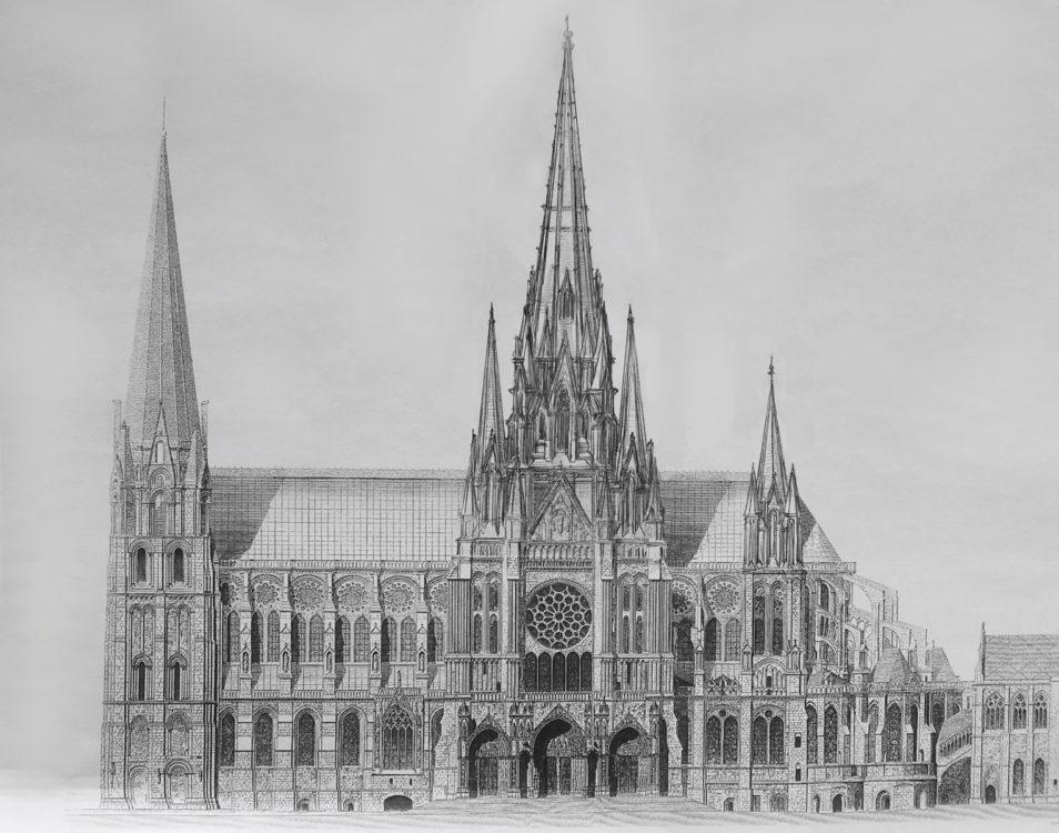 Kathedrale von Chartres mit neun ausgebauten Türmen in hochgotischen Formen