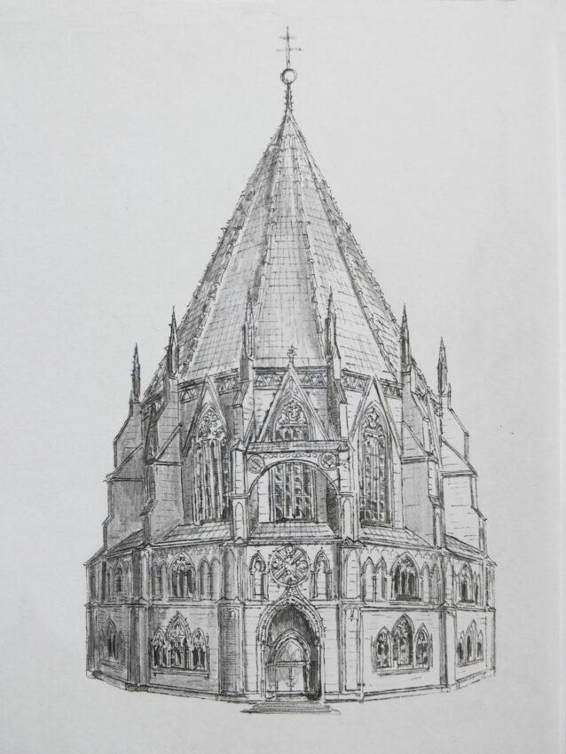 Kloster Ettal. Der sagenumwobene gotische Zentralbau wurde als Vieleck bereits im 14. Jahrhundert ausgeführt. Die geschlossene harmonische Grundform mit dem hohen Zeltdach wird durch Wimperge und filigrane Maßwerkverzierungen bereichert. Hier ist die Rekonstruktion des gotischen Zentralbaus gezeigt, einer der mächtigsten seiner Art in Europa, vergleichbar dem gotisierten Ovalbau von St. Gereon in Köln oder den unzähligen Baptisterien in Italien.