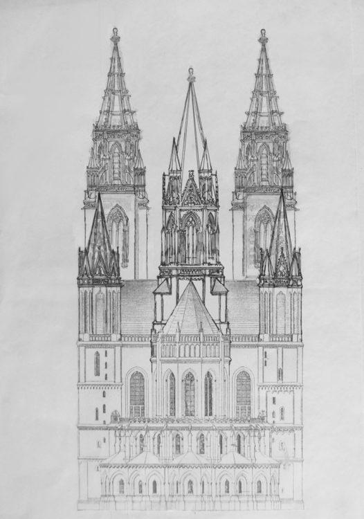 Magdeburg. Dom. Ostansicht nach Zurückbildung in frühgotischen Formen mit fünf Türmen.