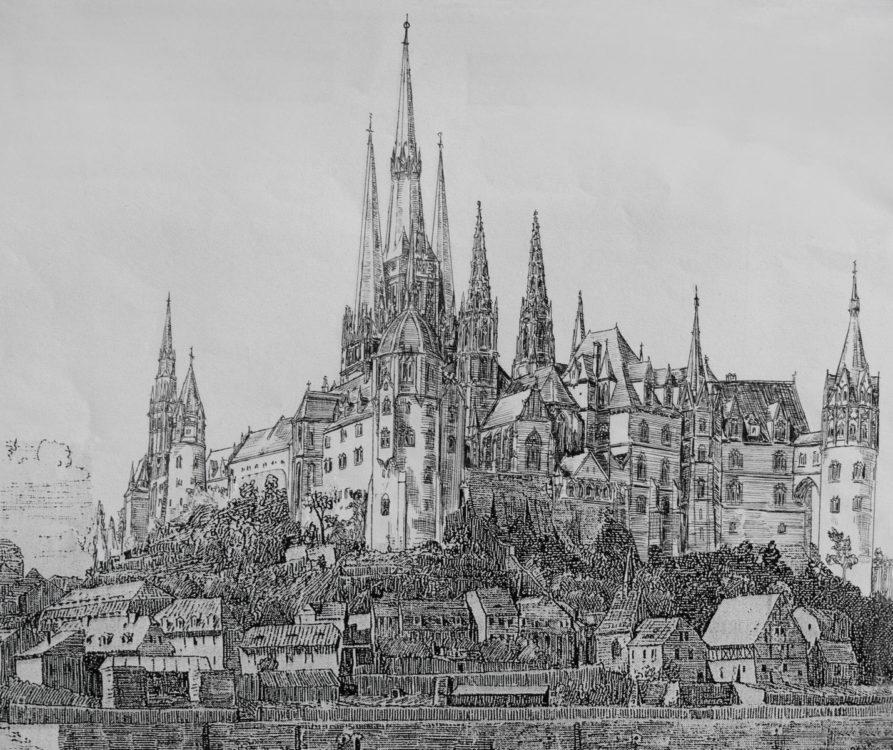 Der Idealplan zeigt die östliche Ansicht des fünftürmigen Dombaus mit der erweiterten Albrechtsburg von der Elbe aus.