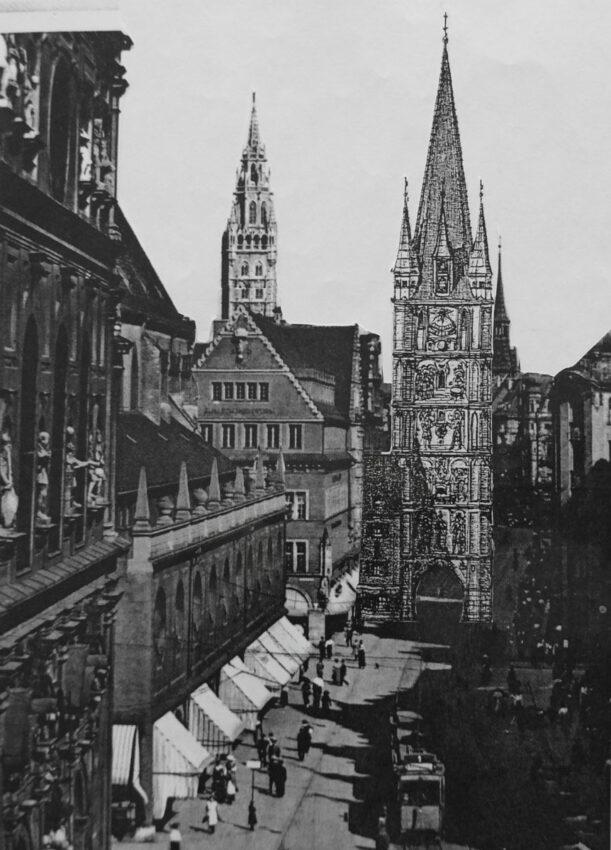 München Der sogenannte Schöne Turm am Übergang der Kaufinger zur Neuhauser Straße war einst reich bemalt, Eine mögliche Rekonstruktion könnte am alten Standort entstehen