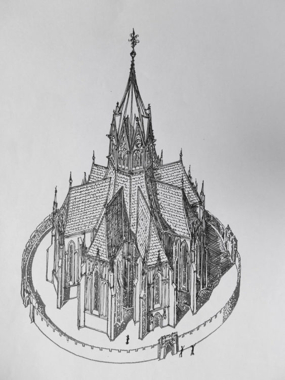 Prag. Gotische Fronleichnamskapelle am Karlsplatz in der Prager Neustadt. Der sternartig ausgeformte Bau wird von einem Turm bekrönt und war in dieser Form einzigartig in Europa.