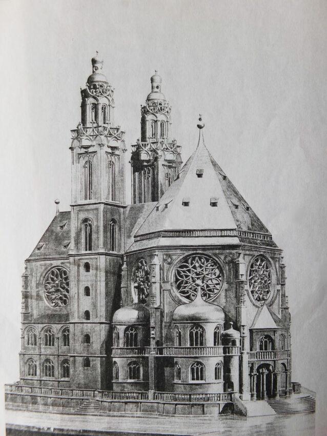 Regensburg. Wallfahrtskirche zur Schönen Maria. Perspektive von Nordwest. Überzeichnetes Modellfoto.