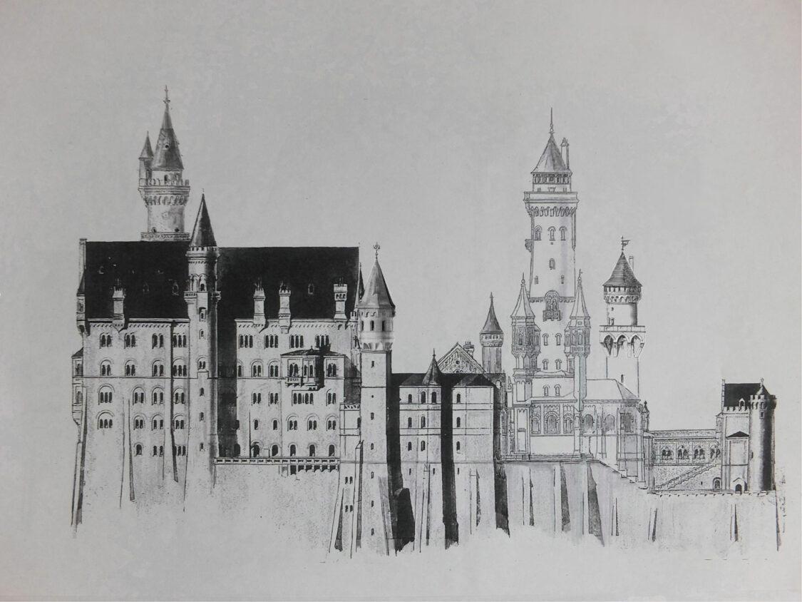 Schloss Neuschwanstein Aufriss Süd mit dem niedrigem Bergfried