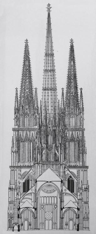 Straßburger Münster. Ansicht und Teilaufriss des Rekonstruktionsprojektes zur Westfassade nach Adler, dem neuen sehr hohen Vierungsturm sowie dem Hallenbau mit dem neuen Chor.