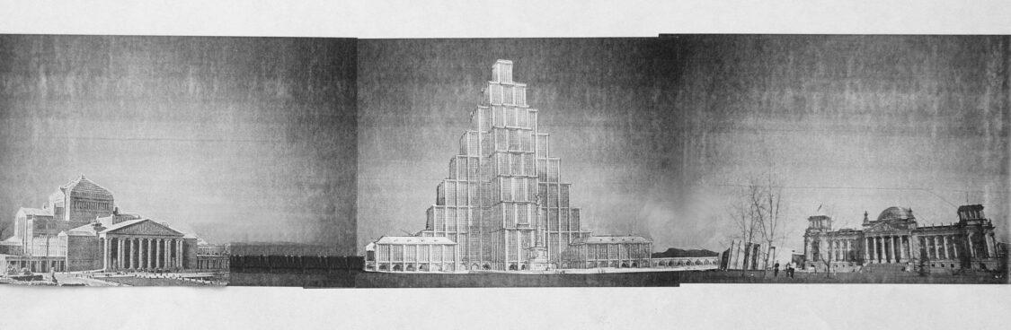 Berlin. Idealidee des Republikanischen Forums mit möglichem Reichshaus von Otto Kohtz, einem 190 Meter hohem stufenpyramidalen Hochhaus erdacht als republikanische Stadtkrone um 1920. Links daneben die bis 1916 projektierte Große Oper nach einem Plan des Münchners Martin Dülfer.