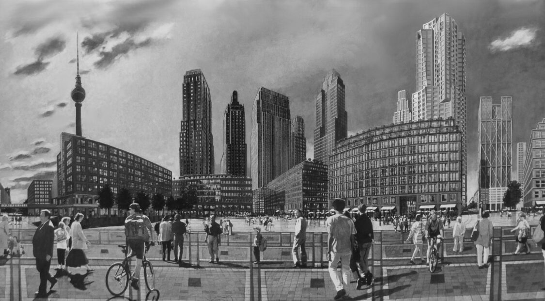 Berlin. Alexanderplatz. Im Osten der Stadt entsteht der seit 1991 intensiv geplante Neue Alexanderplatz mit etwa neun bis zehn Hochhäusern. Das Wohnhochhaus, das zweite Hochhaus von rechts ist bereits in konkreter Planung.