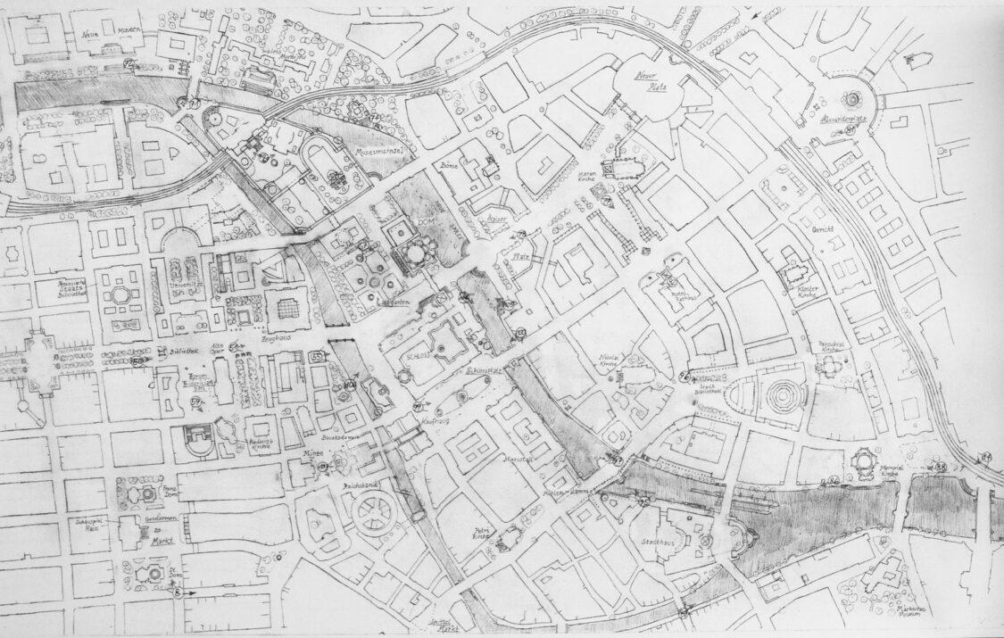 Das Stadtzentrum mit allen wichtigen in den Bildern dargestellten Überarbeitungen. Als Grundlage dient der Vorkriegszustand.