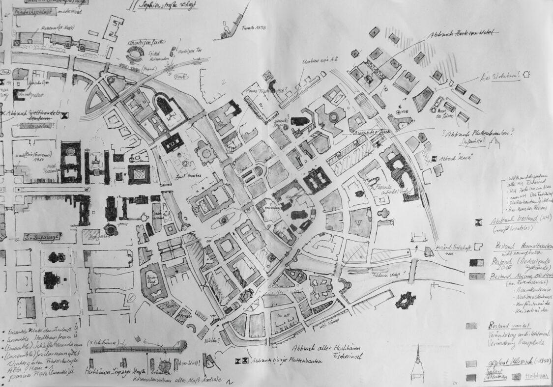 Das Stadtzentrum mit allen wichtigen dargestellten Überarbeitungen. Grundlage ist die Situation ab 1990.