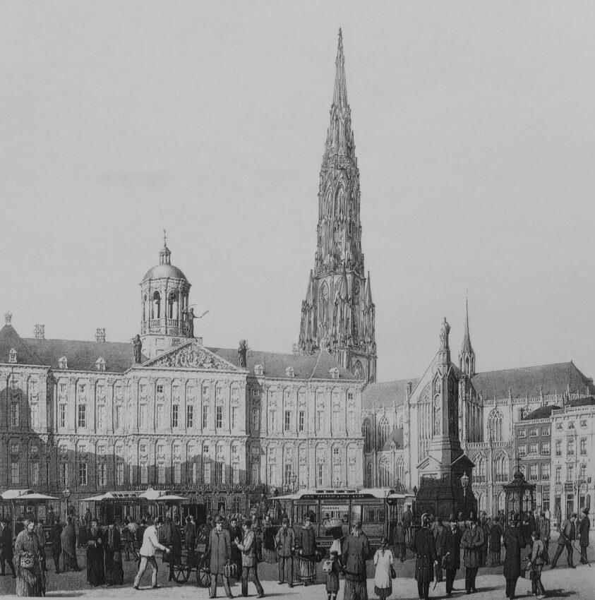Perspektivische Ansicht zum geplanten Turm in gotischen Formen am Rathausplatz. Es überwiegen sehr vertikale Linien, wodurch ein spannender Kontrast zum klassischen Rathaus entsteht.